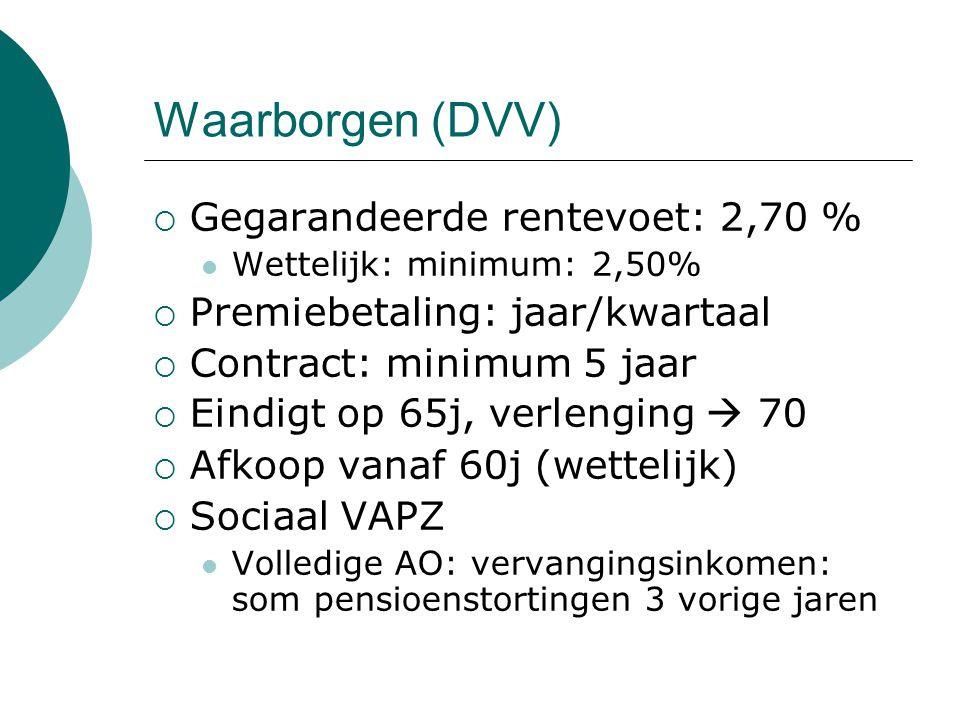 Waarborgen (DVV)  Gegarandeerde rentevoet: 2,70 % Wettelijk: minimum: 2,50%  Premiebetaling: jaar/kwartaal  Contract: minimum 5 jaar  Eindigt op 6