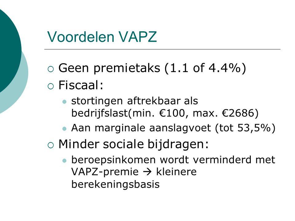 Voordelen VAPZ  Geen premietaks (1.1 of 4.4%)  Fiscaal: stortingen aftrekbaar als bedrijfslast(min. €100, max. €2686) Aan marginale aanslagvoet (tot