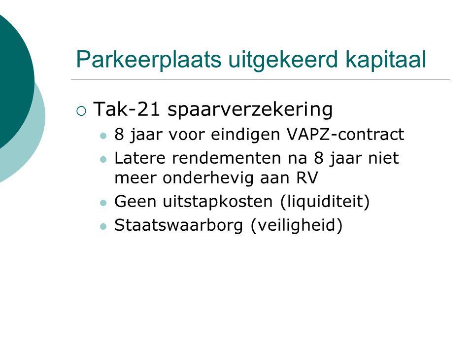 Parkeerplaats uitgekeerd kapitaal  Tak-21 spaarverzekering 8 jaar voor eindigen VAPZ-contract Latere rendementen na 8 jaar niet meer onderhevig aan R