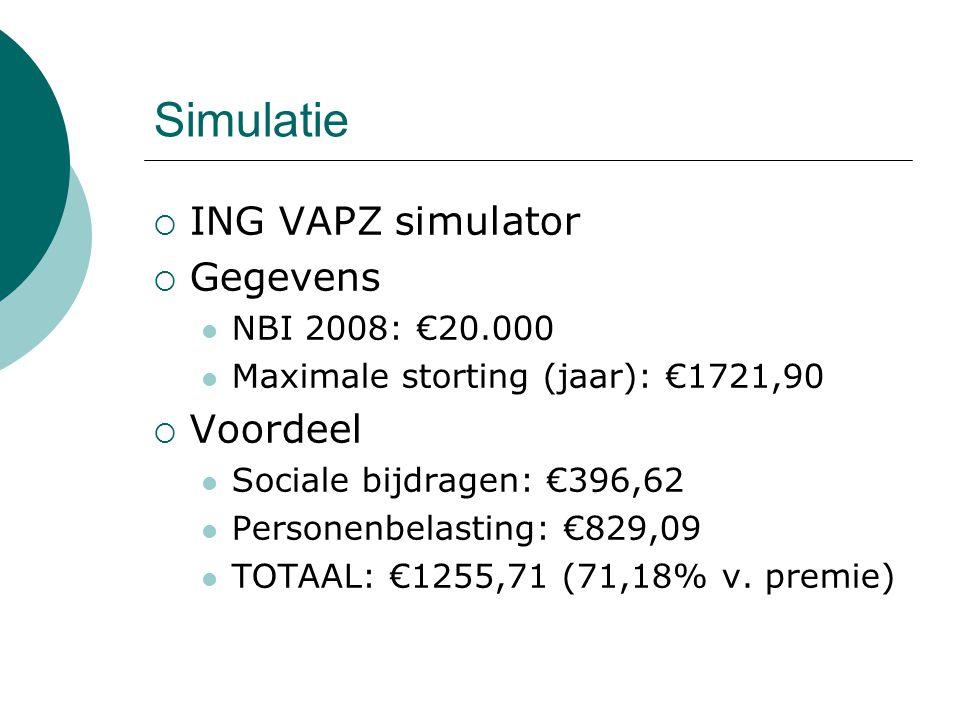 Simulatie  ING VAPZ simulator  Gegevens NBI 2008: €20.000 Maximale storting (jaar): €1721,90  Voordeel Sociale bijdragen: €396,62 Personenbelasting