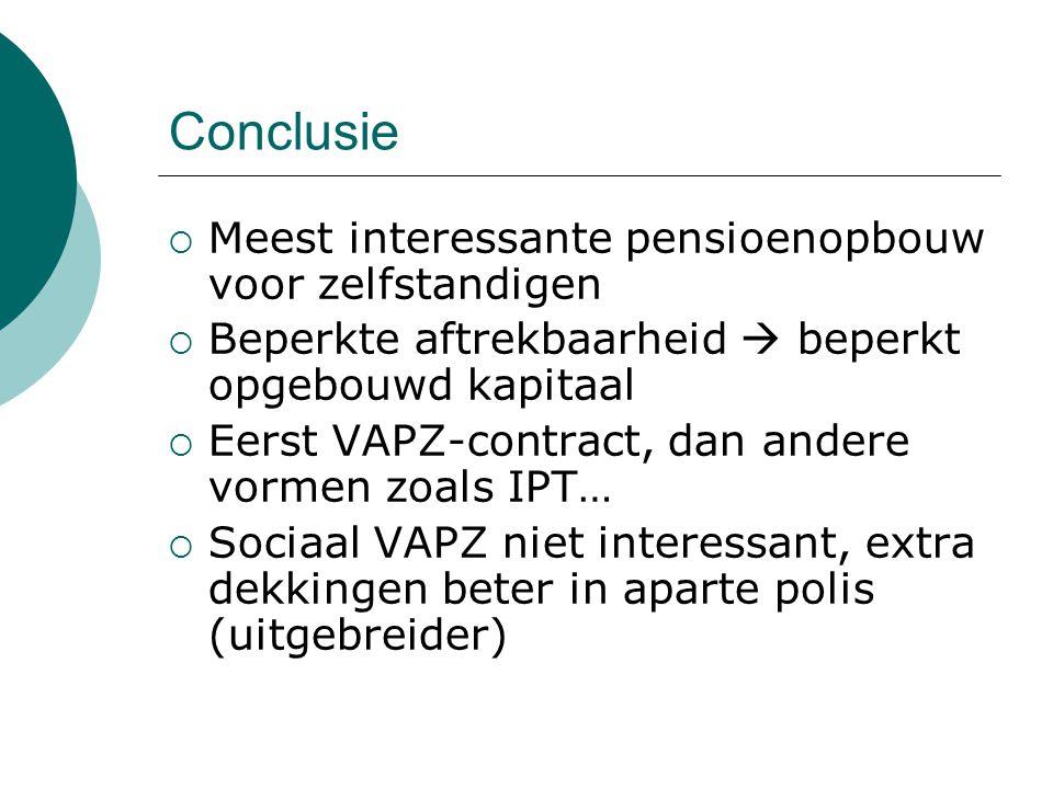 Conclusie  Meest interessante pensioenopbouw voor zelfstandigen  Beperkte aftrekbaarheid  beperkt opgebouwd kapitaal  Eerst VAPZ-contract, dan and