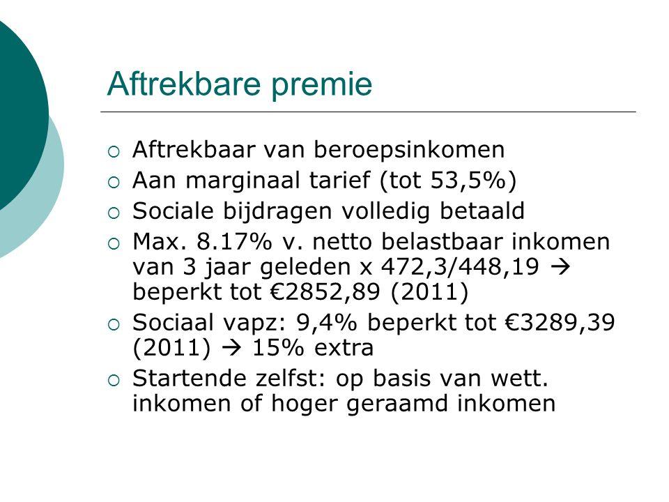 Aftrekbare premie  Aftrekbaar van beroepsinkomen  Aan marginaal tarief (tot 53,5%)  Sociale bijdragen volledig betaald  Max. 8.17% v. netto belast