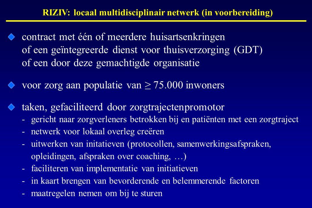 RIZIV: locaal multidisciplinair netwerk (in voorbereiding) contract met één of meerdere huisartsenkringen of een geïntegreerde dienst voor thuisverzorging (GDT) of een door deze gemachtigde organisatie voor zorg aan populatie van ≥ 75.000 inwoners taken, gefaciliteerd door zorgtrajectenpromotor -gericht naar zorgverleners betrokken bij en patiënten met een zorgtraject -netwerk voor lokaal overleg creëren -uitwerken van initatieven (protocollen, samenwerkingsafspraken, opleidingen, afspraken over coaching, …) -faciliteren van implementatie van initiatieven -in kaart brengen van bevorderende en belemmerende factoren -maatregelen nemen om bij te sturen