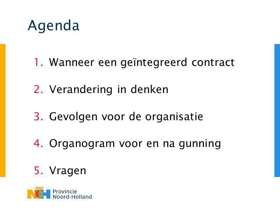Agenda 1.Wanneer een geïntegreerd contract 2.Verandering in denken 3.Gevolgen voor de organisatie 4.Organogram voor en na gunning 5.Vragen