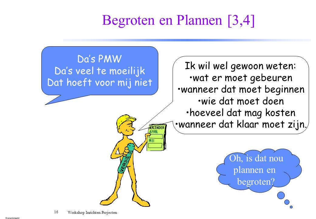 16 Workshop Inrichten Projecten Begroten en Plannen [3,4] Da's PMW Da's veel te moeilijk Dat hoeft voor mij niet Ik wil wel gewoon weten: wat er moet