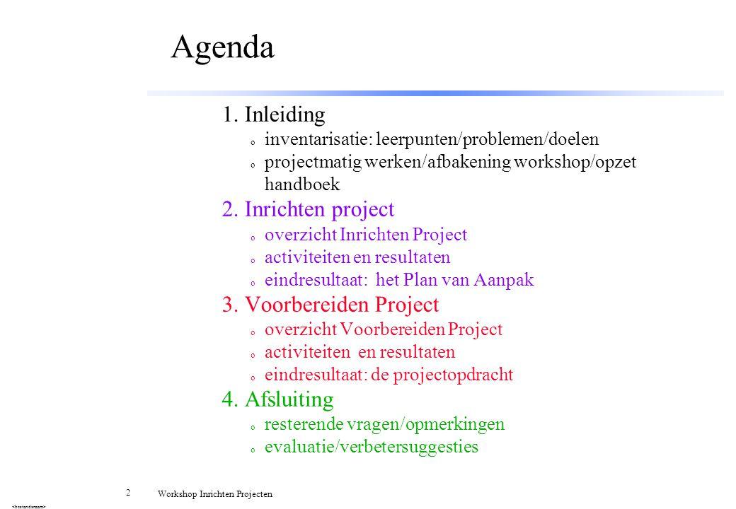 53 Workshop Inrichten Projecten Samenvatting Doel werken in projecten: AFSPRAKEN NAKOMEN.