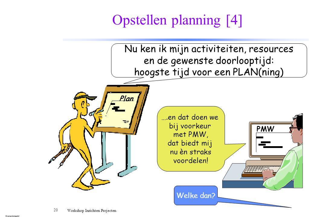20 Workshop Inrichten Projecten Opstellen planning [4] Plan Nu ken ik mijn activiteiten, resources en de gewenste doorlooptijd: hoogste tijd voor een