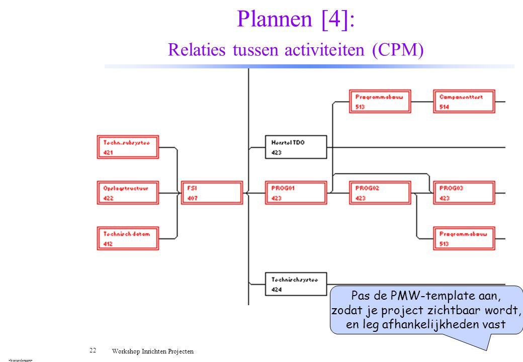22 Workshop Inrichten Projecten Plannen [4]: Relaties tussen activiteiten (CPM) Pas de PMW-template aan, zodat je project zichtbaar wordt, en leg afha