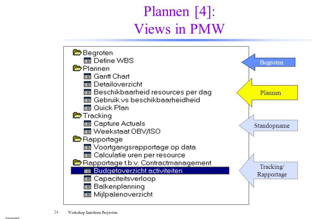 24 Workshop Inrichten Projecten Plannen [4]: Views in PMW Begroten Plannen Standopname Tracking/ Rapportage