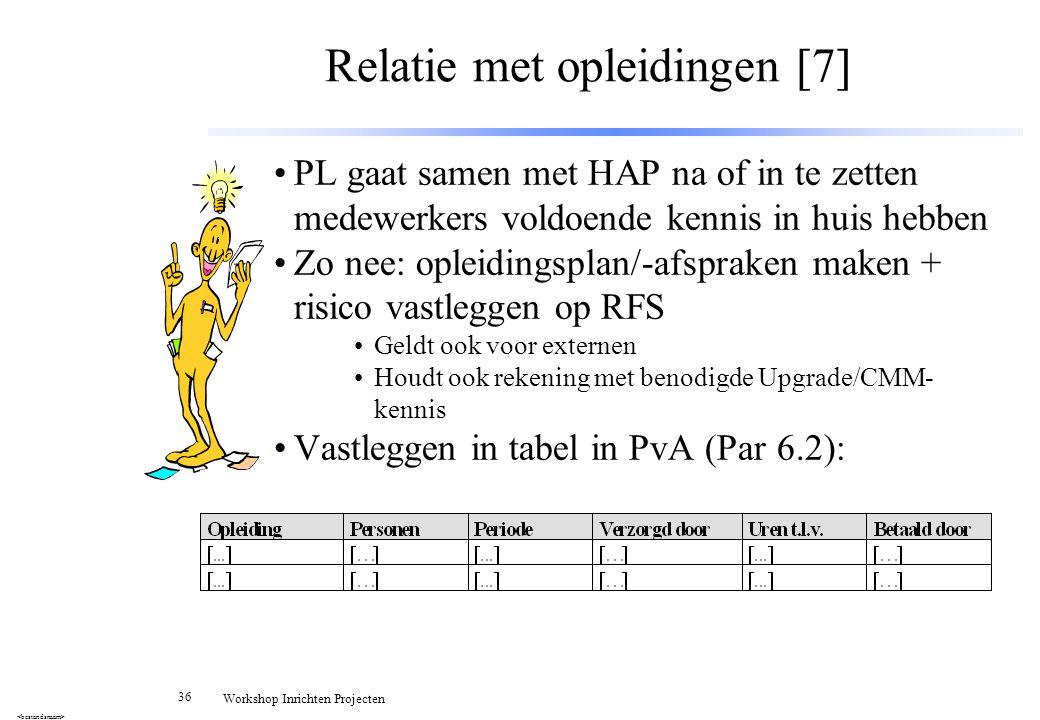 36 Workshop Inrichten Projecten Relatie met opleidingen [7] PL gaat samen met HAP na of in te zetten medewerkers voldoende kennis in huis hebben Zo ne