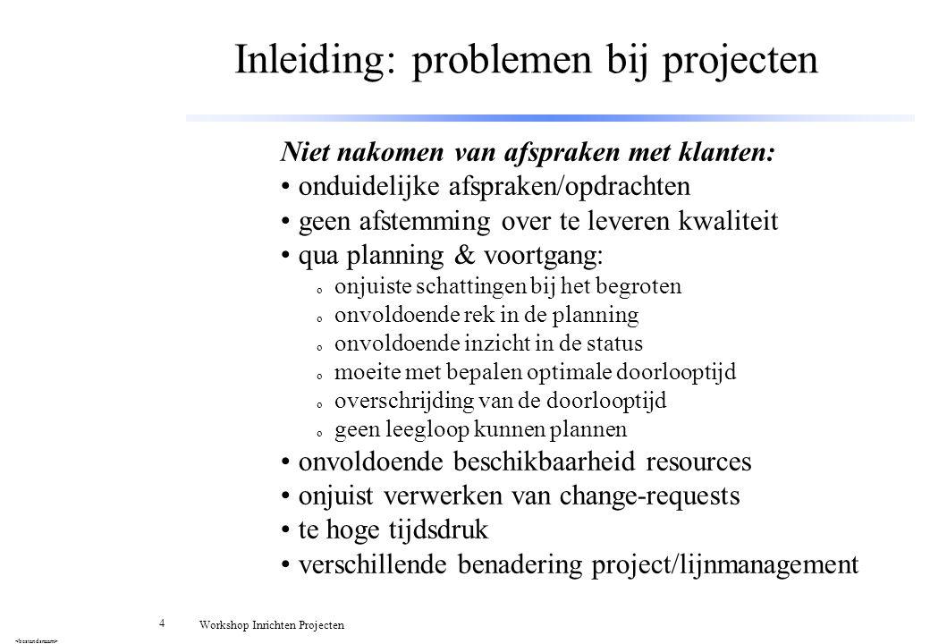 15 Workshop Inrichten Projecten Accepteren Projectopdracht [2] Waarom: o om jezelf, je team èn de CtMr/CtE te behoeden voor problemen of een mislukking Hoe: o beoordelen opdracht en (aanvullende) eisen Aandachtspunten: o eisen meetbaar, eenduidig, consistent, compleet, correct, realiseerbaar binnen de randvoorwaarden.