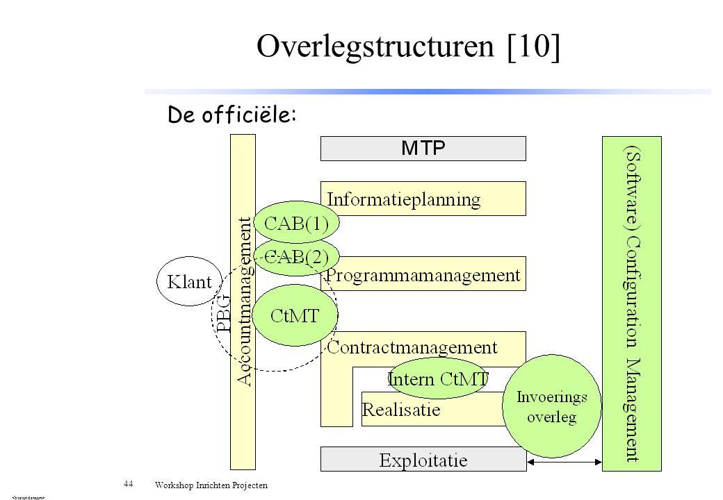 44 Workshop Inrichten Projecten Overlegstructuren [10] De officiële: