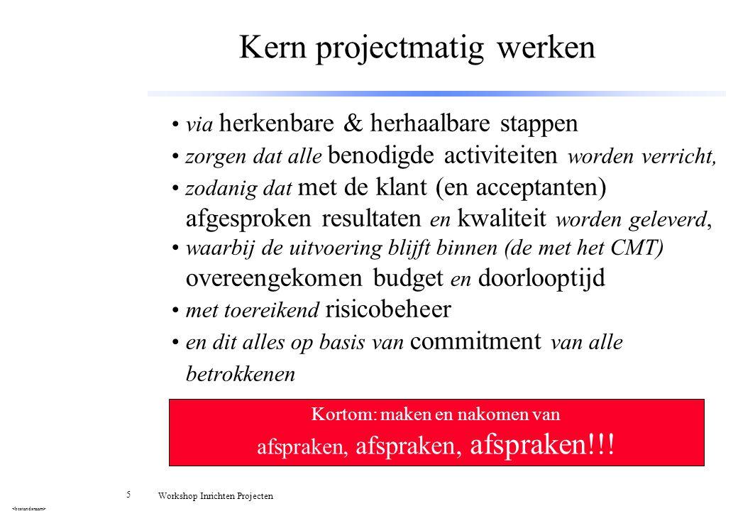 56 Workshop Inrichten Projecten Timetabel 3u (alleen voor docent!) 1.