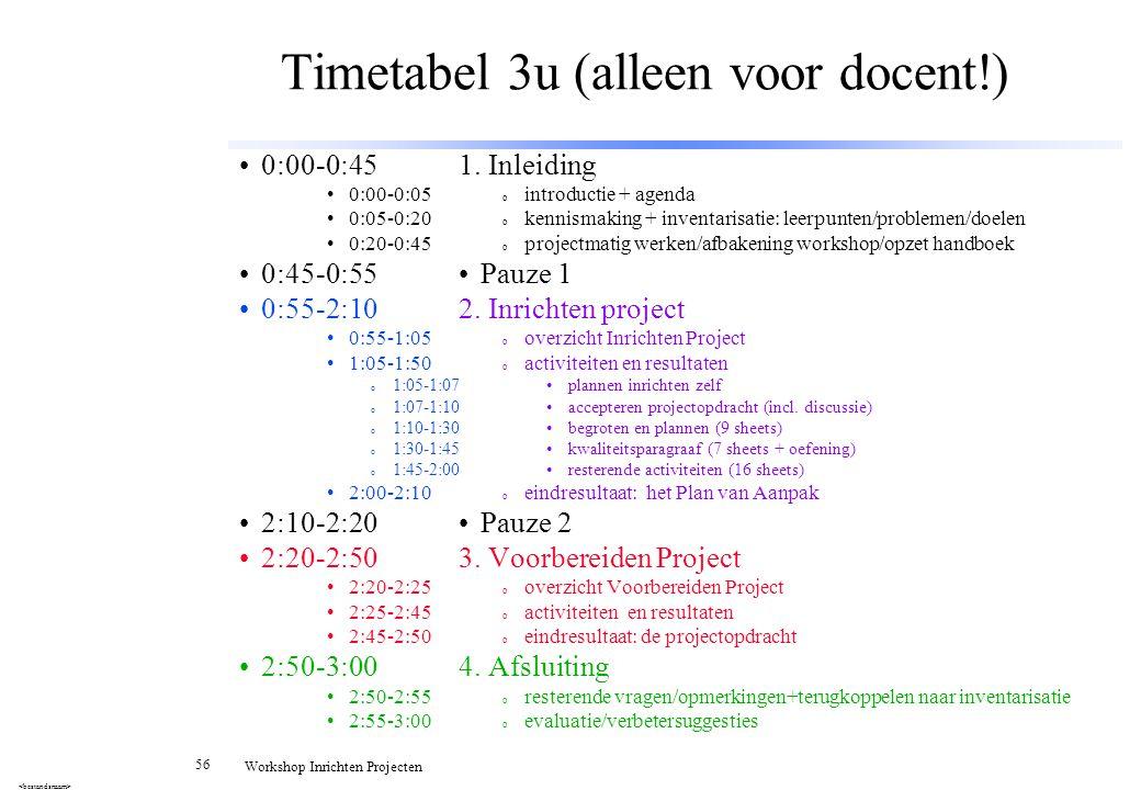 56 Workshop Inrichten Projecten Timetabel 3u (alleen voor docent!) 1. Inleiding o introductie + agenda o kennismaking + inventarisatie: leerpunten/pro