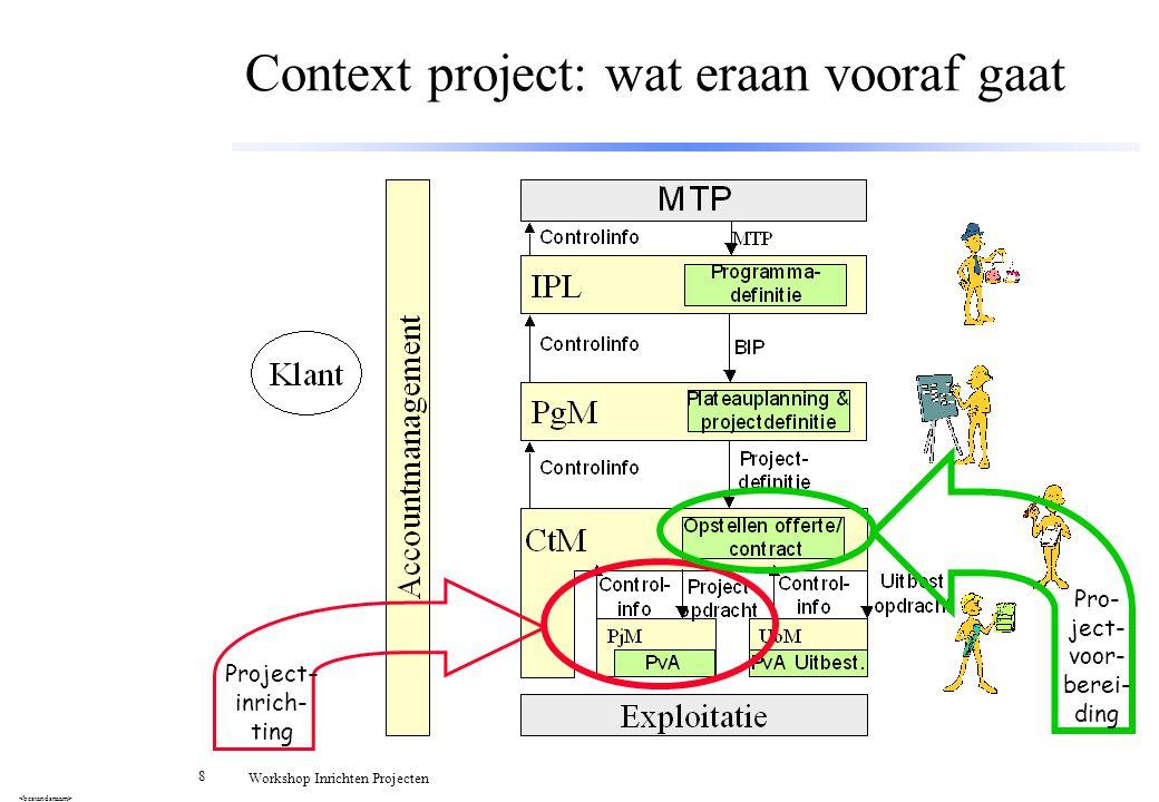 8 Workshop Inrichten Projecten Context project: wat eraan vooraf gaat Project - inrich- ting Pro- ject- voor- berei- ding