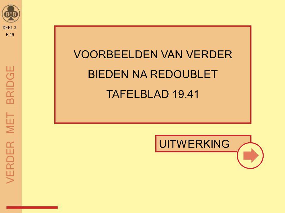 VOORBEELDEN VAN VERDER BIEDEN NA REDOUBLET TAFELBLAD 19.41 DEEL 3 H 19 UITWERKING