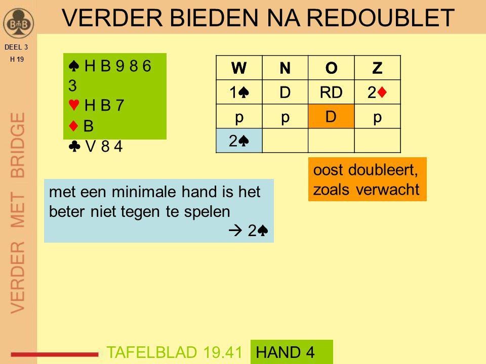 WNOZ 1♠1♠DRD2♦2♦ ppDp ? VERDER BIEDEN NA REDOUBLET DEEL 3 H 19 ♠ H B 9 8 6 3 ♥ H B 7 ♦ B ♣ V 8 4 met een minimale hand is het beter niet tegen te spel