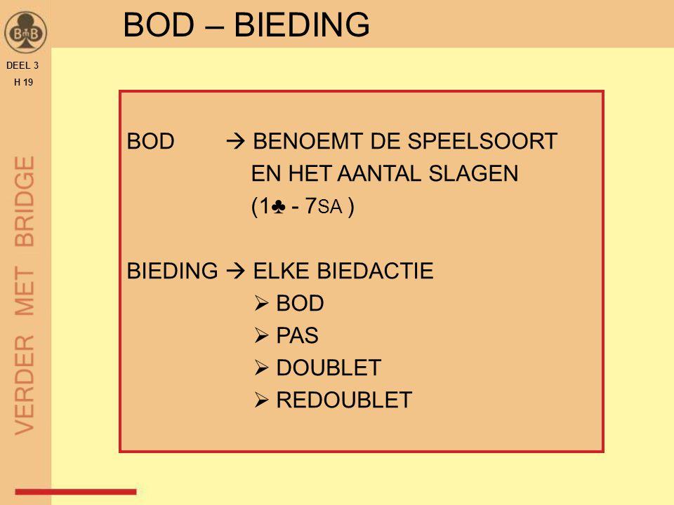 DEEL 3 H 19 BOD – BIEDING BOD  BENOEMT DE SPEELSOORT EN HET AANTAL SLAGEN (1♣ - 7 SA ) BIEDING  ELKE BIEDACTIE  BOD  PAS  DOUBLET  REDOUBLET