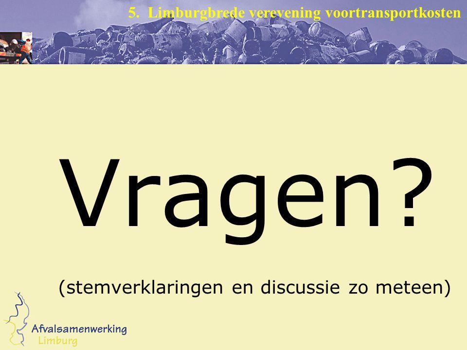 Vragen (stemverklaringen en discussie zo meteen) 5. Limburgbrede verevening voortransportkosten