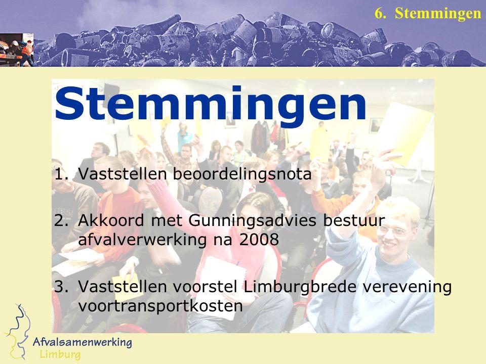 Stemmingen 1.Vaststellen beoordelingsnota 2.Akkoord met Gunningsadvies bestuur afvalverwerking na 2008 3.Vaststellen voorstel Limburgbrede verevening voortransportkosten 6.