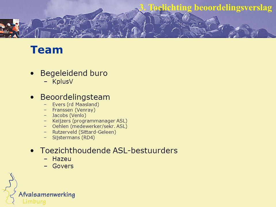Team Begeleidend buro –KplusV Beoordelingsteam –Evers (rd Maasland) –Franssen (Venray) –Jacobs (Venlo) –Keijzers (programmanager ASL) –Oehlen (medewerker/sekr.
