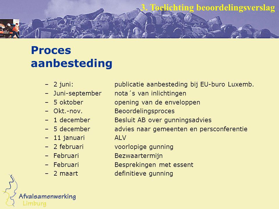 Proces aanbesteding –2 juni:publicatie aanbesteding bij EU-buro Luxemb.