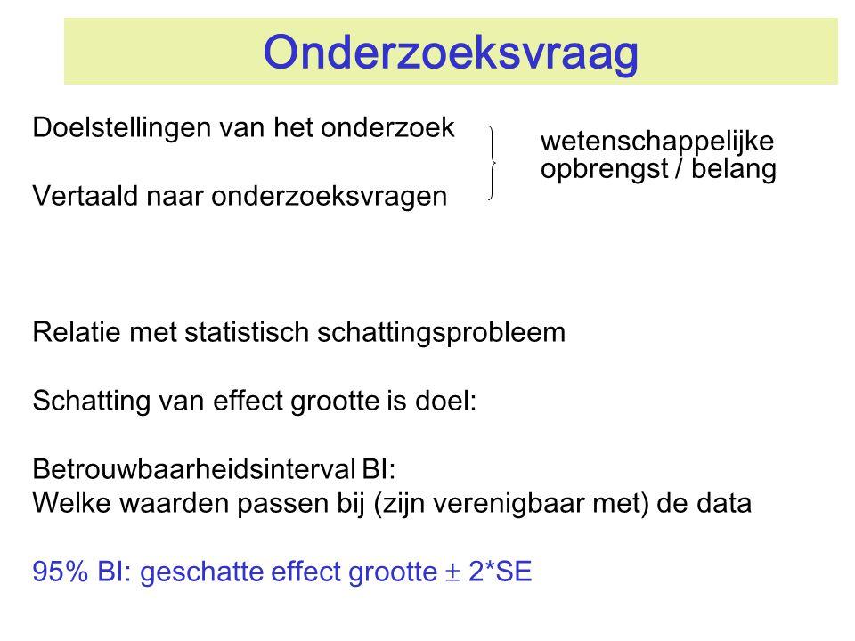 Onderzoeksvraag Doelstellingen van het onderzoek Vertaald naar onderzoeksvragen Relatie met statistisch schattingsprobleem Schatting van effect groott