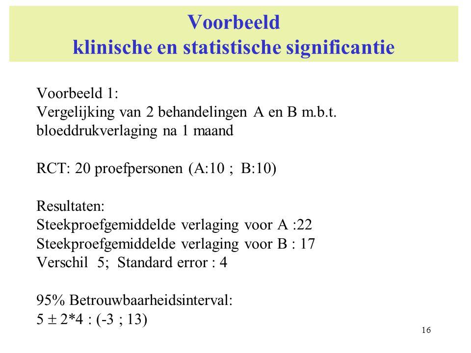 16 Voorbeeld klinische en statistische significantie Voorbeeld 1: Vergelijking van 2 behandelingen A en B m.b.t. bloeddrukverlaging na 1 maand RCT: 20