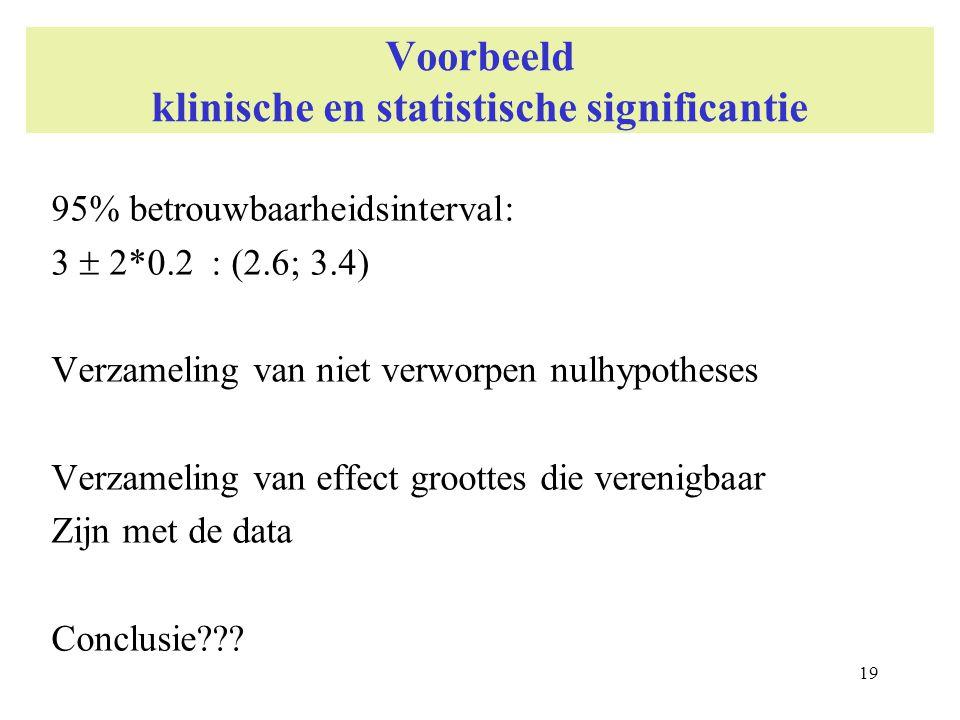 19 Voorbeeld klinische en statistische significantie 95% betrouwbaarheidsinterval: 3  2*0.2 : (2.6; 3.4) Verzameling van niet verworpen nulhypotheses