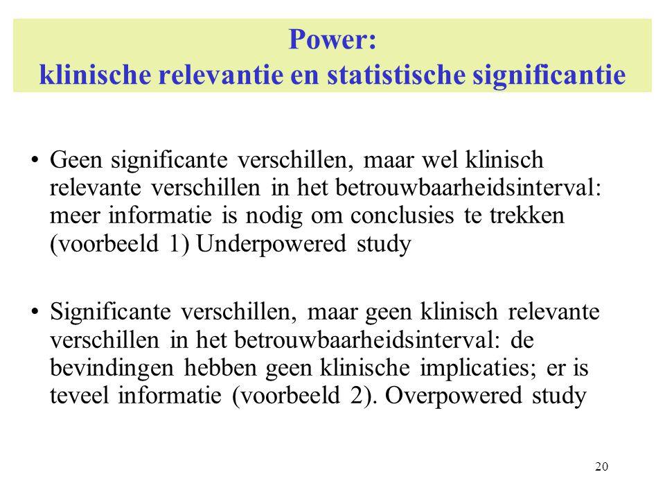 20 Power: klinische relevantie en statistische significantie Geen significante verschillen, maar wel klinisch relevante verschillen in het betrouwbaar