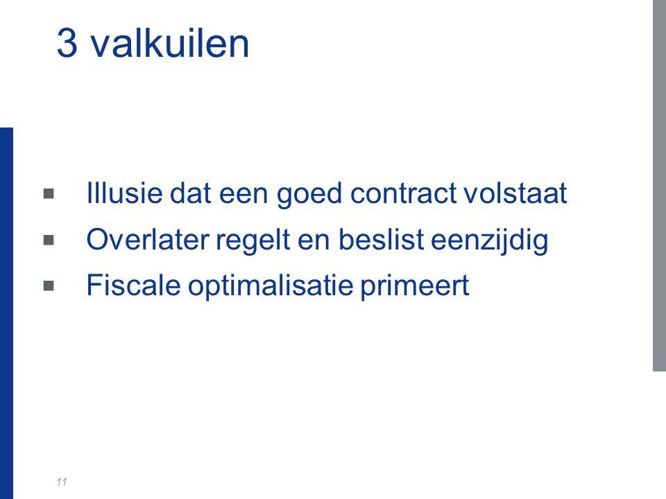 11 3 valkuilen  Illusie dat een goed contract volstaat  Overlater regelt en beslist eenzijdig  Fiscale optimalisatie primeert