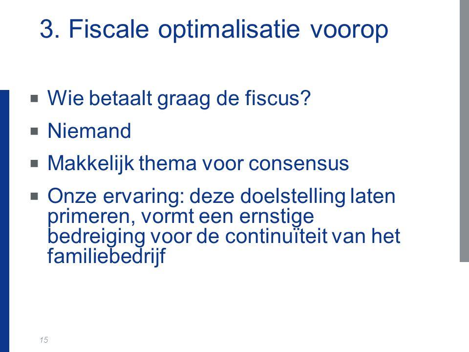 15 3. Fiscale optimalisatie voorop  Wie betaalt graag de fiscus?  Niemand  Makkelijk thema voor consensus  Onze ervaring: deze doelstelling laten