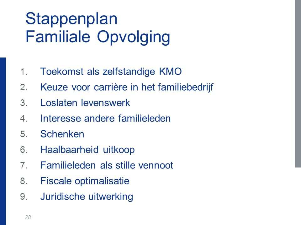 28 Stappenplan Familiale Opvolging 1. Toekomst als zelfstandige KMO 2. Keuze voor carrière in het familiebedrijf 3. Loslaten levenswerk 4. Interesse a
