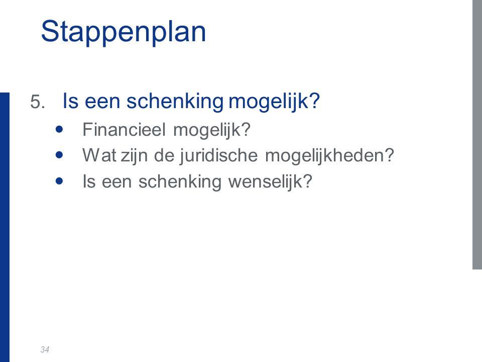 34 Stappenplan 5. Is een schenking mogelijk? Financieel mogelijk? Wat zijn de juridische mogelijkheden? Is een schenking wenselijk?