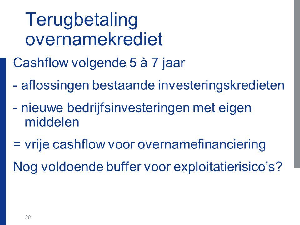 38 Terugbetaling overnamekrediet Cashflow volgende 5 à 7 jaar - aflossingen bestaande investeringskredieten - nieuwe bedrijfsinvesteringen met eigen m