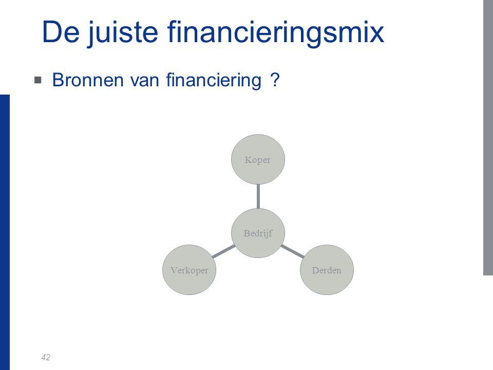 42 De juiste financieringsmix  Bronnen van financiering ? Bedrijf KoperDerdenVerkoper