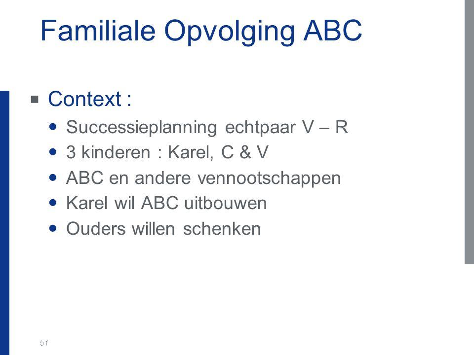 51 Familiale Opvolging ABC  Context : Successieplanning echtpaar V – R 3 kinderen : Karel, C & V ABC en andere vennootschappen Karel wil ABC uitbouwe