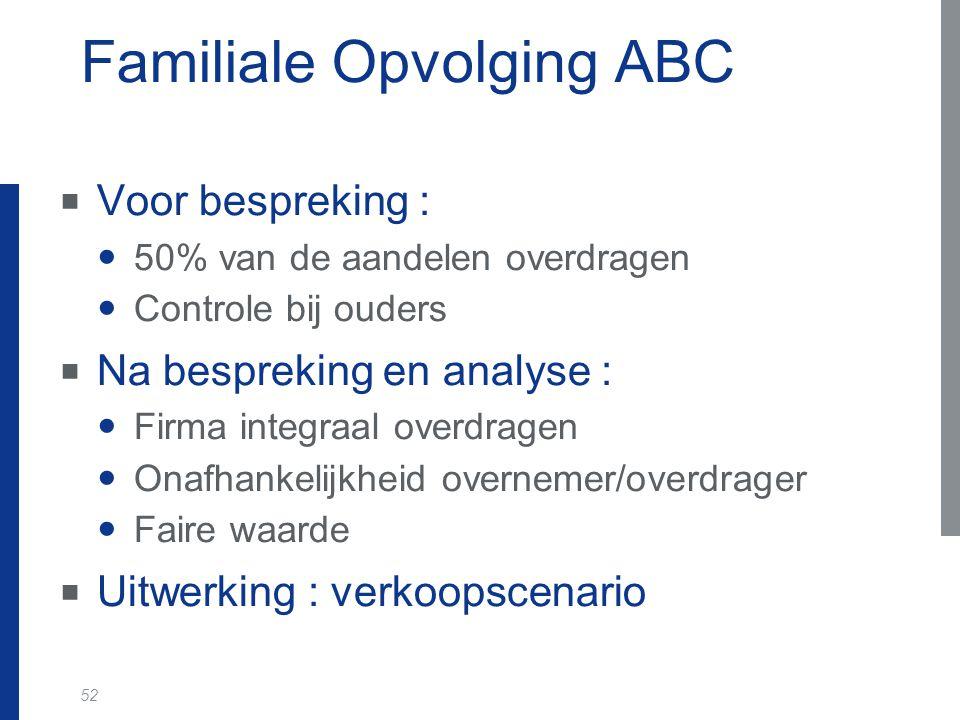 52 Familiale Opvolging ABC  Voor bespreking : 50% van de aandelen overdragen Controle bij ouders  Na bespreking en analyse : Firma integraal overdra