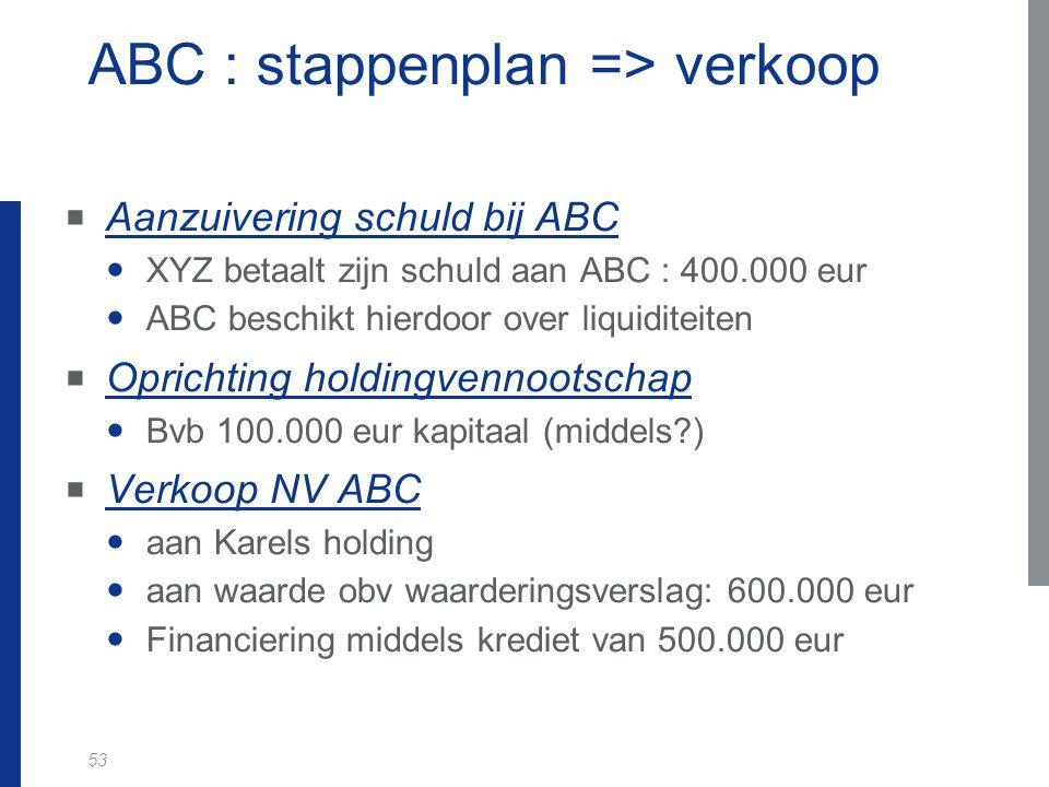 53 ABC : stappenplan => verkoop  Aanzuivering schuld bij ABC XYZ betaalt zijn schuld aan ABC : 400.000 eur ABC beschikt hierdoor over liquiditeiten 