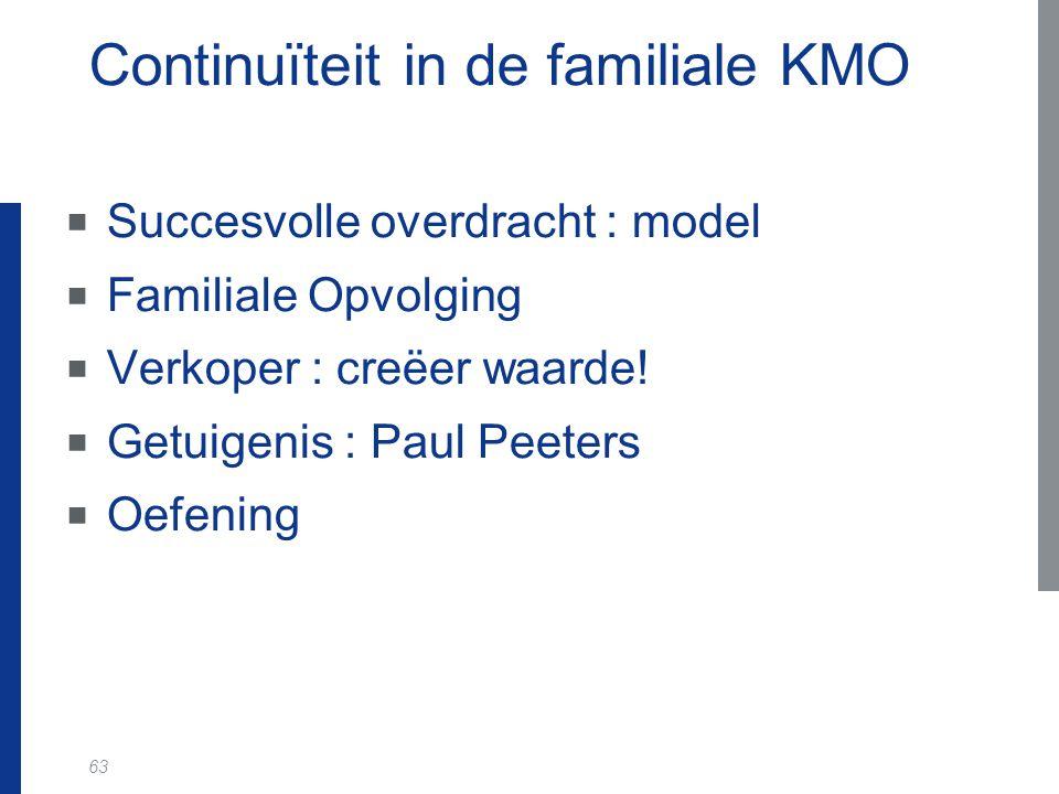 63 Continuïteit in de familiale KMO  Succesvolle overdracht : model  Familiale Opvolging  Verkoper : creëer waarde.