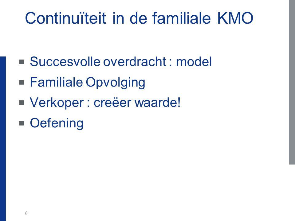 8 Continuïteit in de familiale KMO  Succesvolle overdracht : model  Familiale Opvolging  Verkoper : creëer waarde.