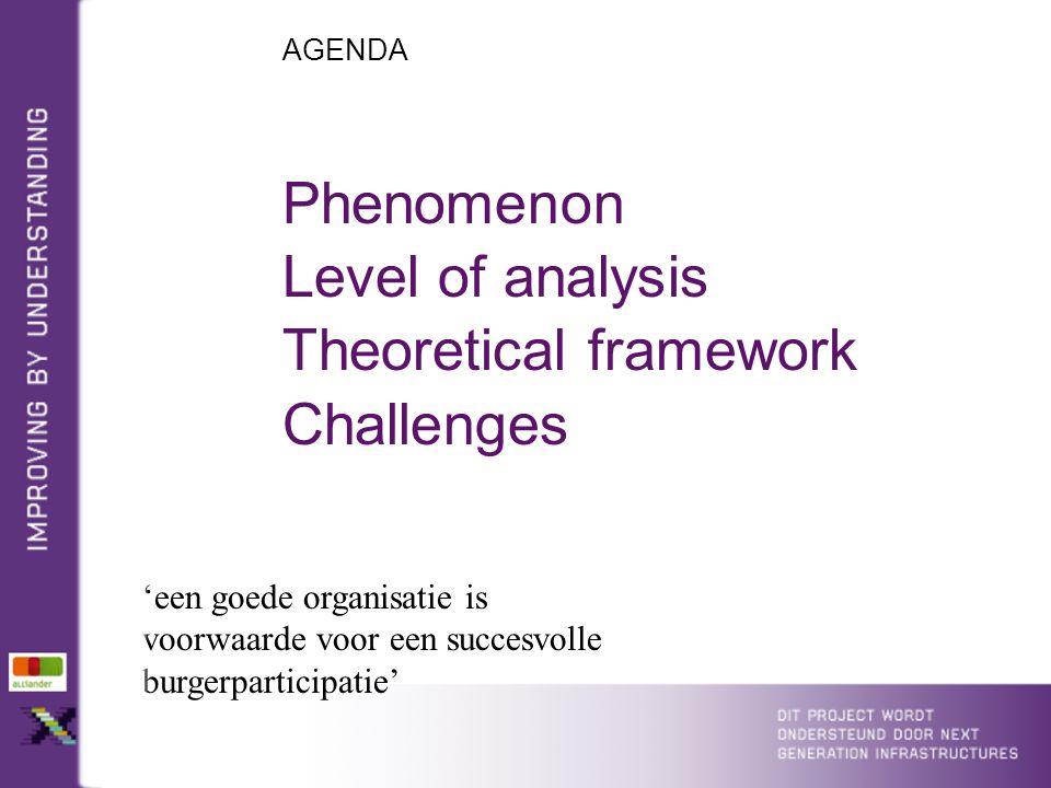 AGENDA 'een goede organisatie is voorwaarde voor een succesvolle burgerparticipatie' Phenomenon Level of analysis Theoretical framework Challenges