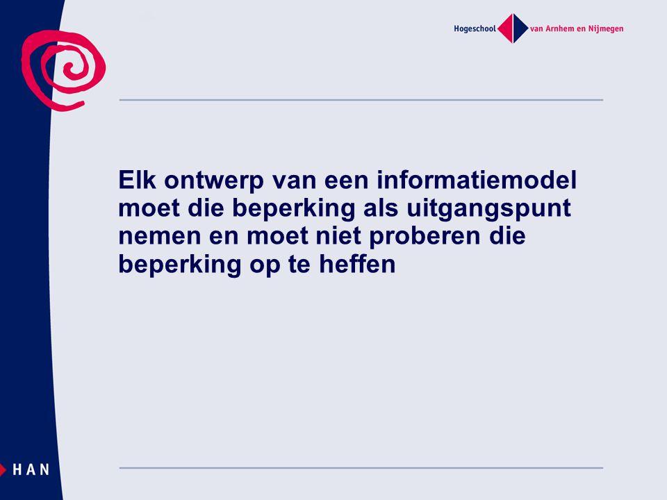 Elk ontwerp van een informatiemodel moet die beperking als uitgangspunt nemen en moet niet proberen die beperking op te heffen