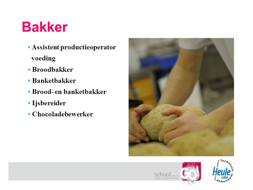 Bakker Assistent productieoperator voeding Broodbakker Banketbakker Brood- en banketbakker Ijsbereider Chocoladebewerker