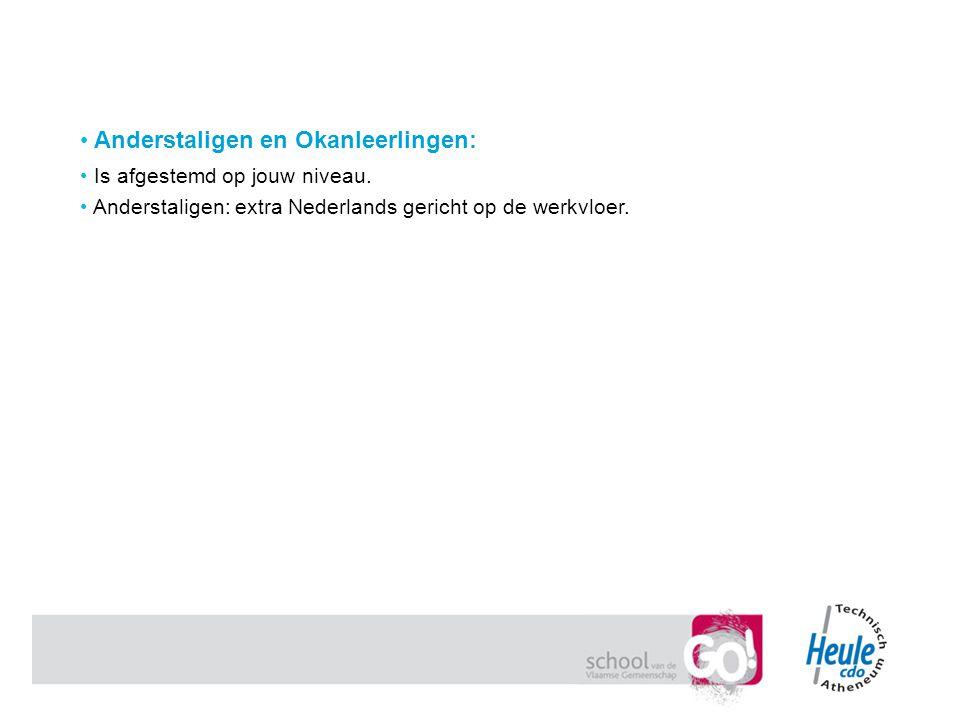 Anderstaligen en Okanleerlingen: Is afgestemd op jouw niveau. Anderstaligen: extra Nederlands gericht op de werkvloer.