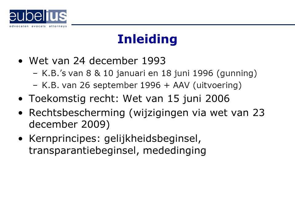 Inleiding Wet van 24 december 1993 –K.B.'s van 8 & 10 januari en 18 juni 1996 (gunning) –K.B. van 26 september 1996 + AAV (uitvoering) Toekomstig rech