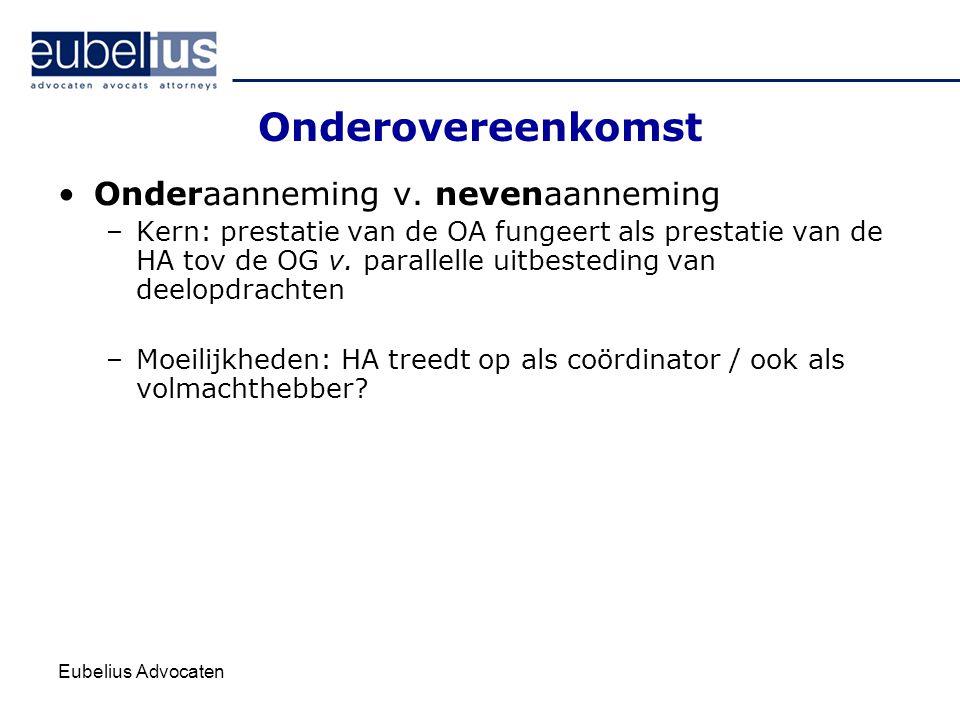 Eubelius Advocaten Onderovereenkomst Onderaanneming v. nevenaanneming –Kern: prestatie van de OA fungeert als prestatie van de HA tov de OG v. paralle
