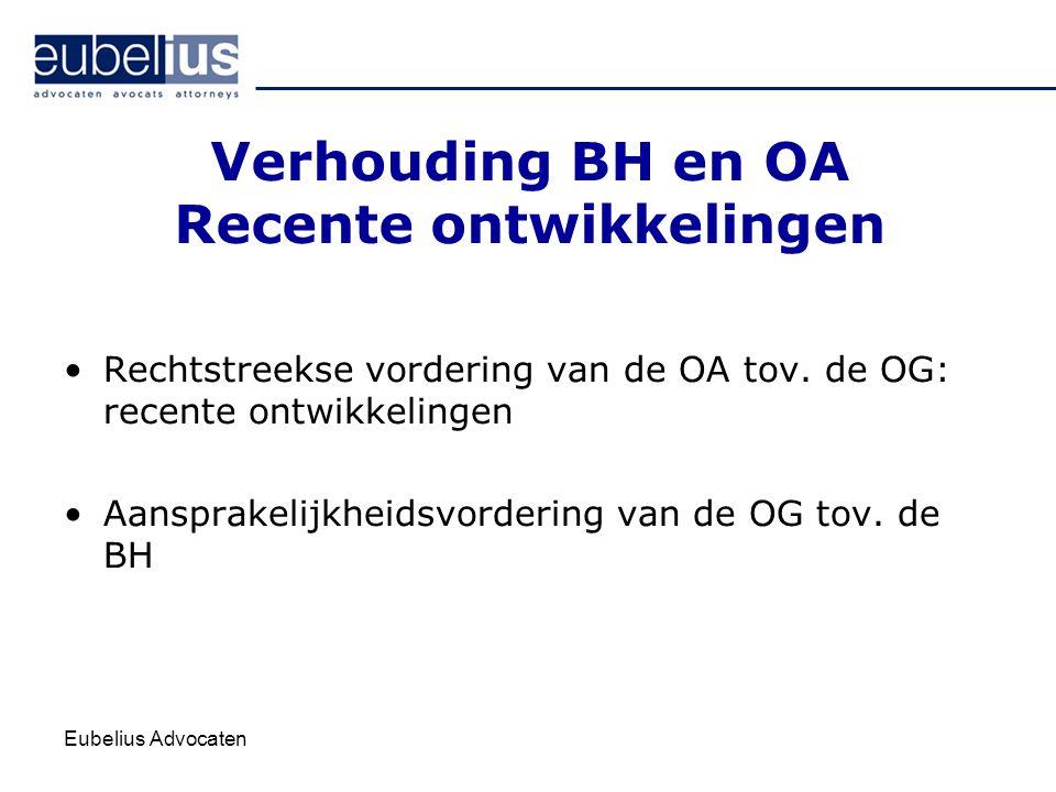 Eubelius Advocaten Verhouding BH en OA Recente ontwikkelingen Rechtstreekse vordering van de OA tov. de OG: recente ontwikkelingen Aansprakelijkheidsv