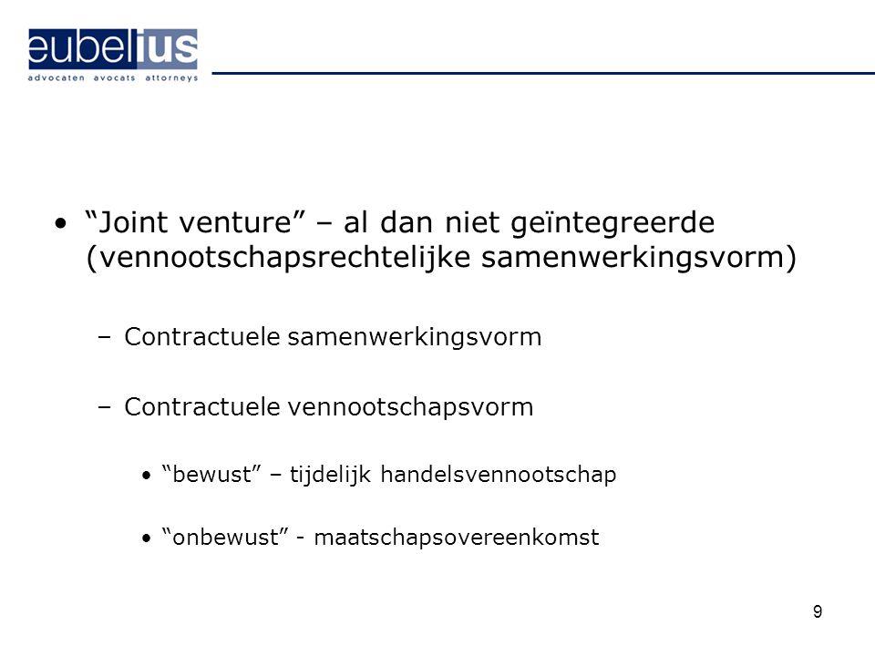 """""""Joint venture"""" – al dan niet geïntegreerde (vennootschapsrechtelijke samenwerkingsvorm) –Contractuele samenwerkingsvorm –Contractuele vennootschapsvo"""