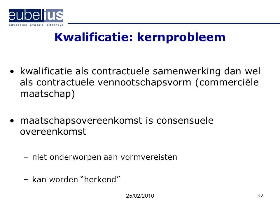 Kwalificatie: kernprobleem kwalificatie als contractuele samenwerking dan wel als contractuele vennootschapsvorm (commerciële maatschap) maatschapsove